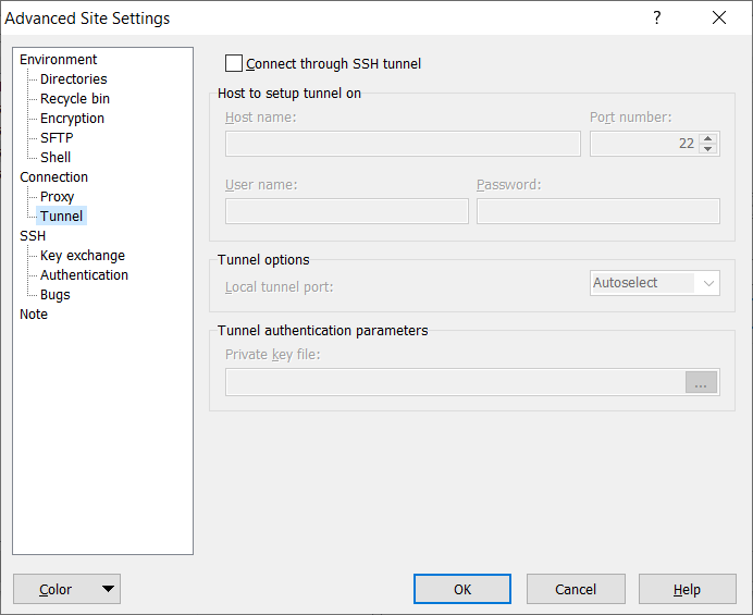 WinSCP advanced site settings dialog.